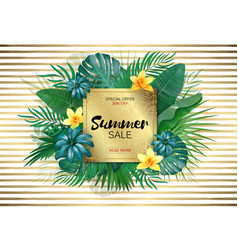 sale square summer sale tropical leaves frame on vector image