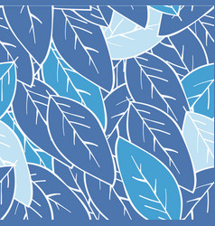 seamless abstract winter leaf background blue vector image