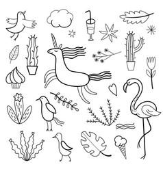 Set doodles images vector