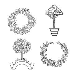 Set floristic ornaments vector