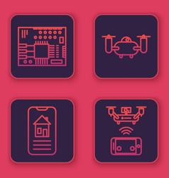 Set line printed circuit board pcb smart home vector