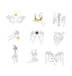 set modern simple magic drawings with crystals vector image