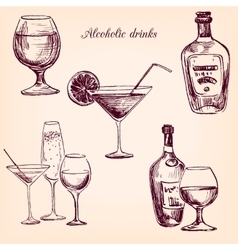 set of alcohol drinks vector image