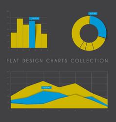set of flat design statistics charts and graphs vector image