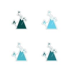 Set of paper stickers on white background mountain vector