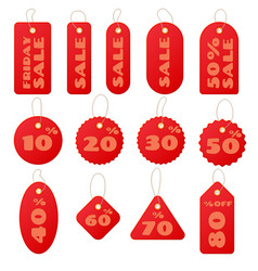set of red round and square sale price tags and vector image