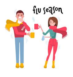 set sick people man and woman feeling unwell vector image