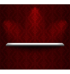 Shelf on the red wall vector image