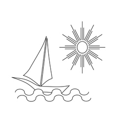 Ship at sea icon outline style vector image vector image