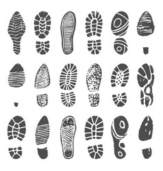 Shoes footprint silhouette sneaker shoes step vector