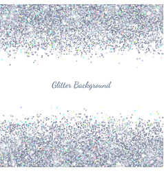 Silver glitter with colored particles on white vector