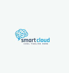 Smart cloud abstract emblem sign or logo vector