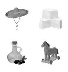 Sombrero cheese and other monochrome icon in vector