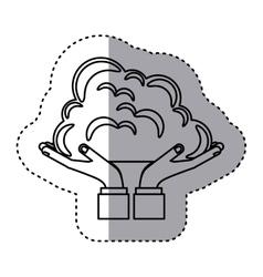 Sticker contour of hands holding a cumulus cloud vector