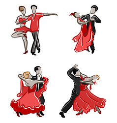 Stylized dancing pairs vector