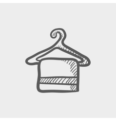 Towel on hanger sketch icon vector