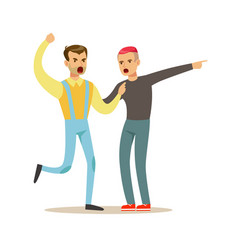 Two young men characters fighting and quarelling vector