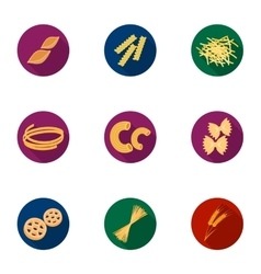 Types of pasta set icons in flat style Big vector