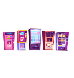 Vending machines with snacks and drinks icons set vector