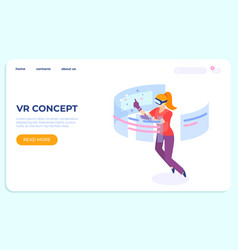 vr landing isometric concept young women vector image