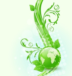Wavy background with global planet and eco green vector image