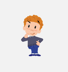 White boy in jeans thoughtful and happy vector