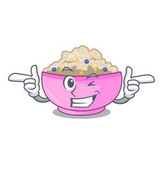 Wink traditional porridge rice in bowl cartoon vector