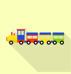 wood toy train icon flat style vector image