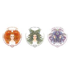 Zodiac sign portrait a woman aries taurus vector