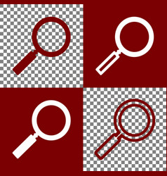 Zoom sign bordo and white vector