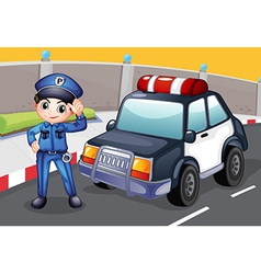 An officer and his patrol car vector image vector image