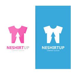 Cloth and arrow up logo combination vector