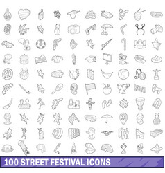100 street festival icons set outline style vector image vector image