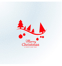beautiful red christmas tree and hanging balls vector image vector image