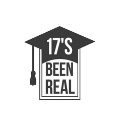 black colored 17s been real text sign with the vector image