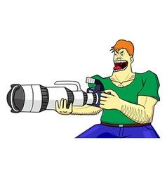 cameraman hardcore and dslr super zoom vector image