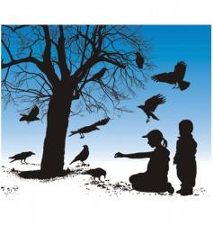 children fed birds vector image vector image