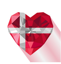 Crystal gem flag of the kingdom of denmark vector