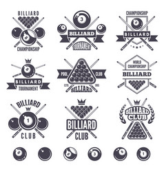logos set for billiard club vector image vector image