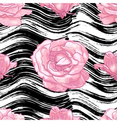 Seamless pattern with grunge background and roses vector image vector image
