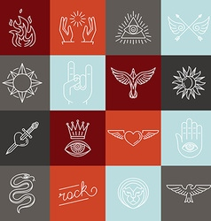 set of trendy linear hipster icons and symbols vector image vector image
