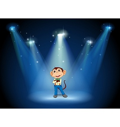 A stage with a monkey in the middle vector image vector image