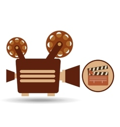 camera movie vintage clapper icon design vector image vector image