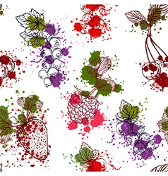 collection of fruits berries in watercolor style vector image vector image