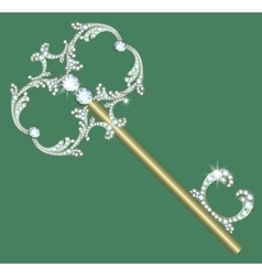 Golden key with diamonds vector image