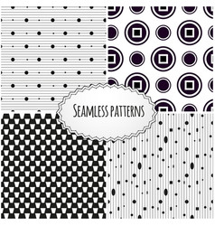 set of geometric seamless patterns modern stylish vector image vector image