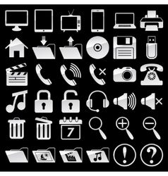 Set of web and media icons vector image