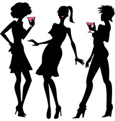 Three party girls silhouettes vector image