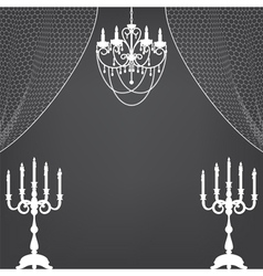 Vintage dark background with chandelier and vector