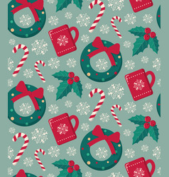 winter objects seamless pattern vector image vector image